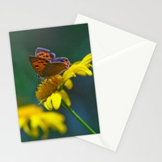 Butterfly on yellow flower - lycaena phloeas 3497 Stationery Cards