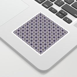 Plum White and Black Digital Flower Pattern Sticker