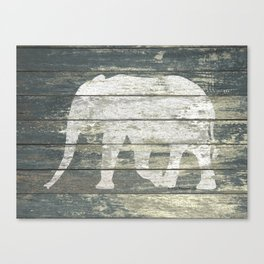White Elephant Silhouette on Teal Wood A215C Canvas Print