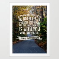 bible verse Art Prints featuring Joshua 1 verse 9 - Typographic Bible Verse by Encouraging Verses UK