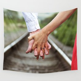 Holding Hands And Engaged Wall Tapestry