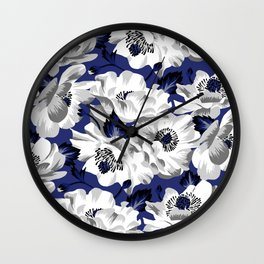 Mount Cook Lily - Blue/White Wall Clock