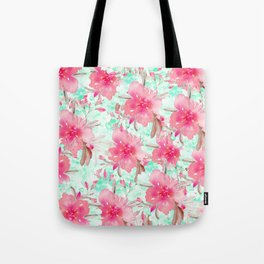Hot pink turquoise hand painted watercolor floral Tote Bag