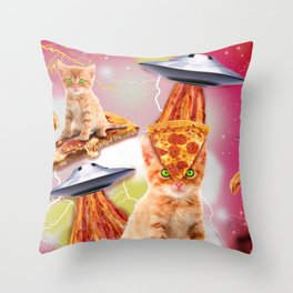 alien cats and the ufos Throw Pillow