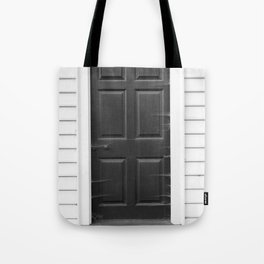 Door with Cobwebs in Black and White Tote Bag
