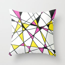 Geometric Neon Triangles - Pink, Yellow & Black Throw Pillow