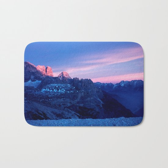 Romantic Sunset in the Snowy Mountains #2 #art #society6 Bath Mat