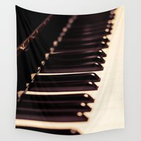 piano Wall Tapestries featuring piano by noirblanc777