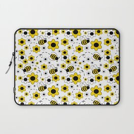 Honey Bumble Bee Yellow Floral Pattern Laptop Sleeve