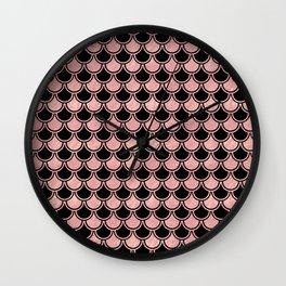 Mermaid Scales Rose Gold Pink on Black Wall Clock