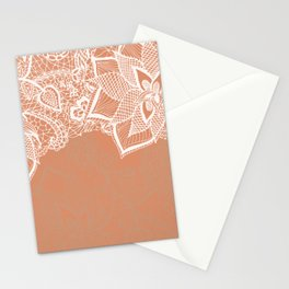 Modern hand drawn floral lace color copper tan roast illustration pattern Stationery Cards