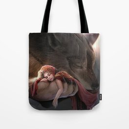 Futuristic Red Riding Hood Tote Bag