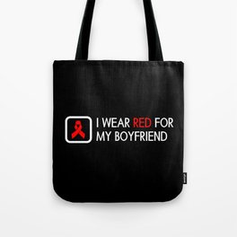 Red Ribbon: Red for my Boyfriend Tote Bag