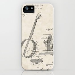 Banjo Vintage Patent Hand Drawing iPhone Case