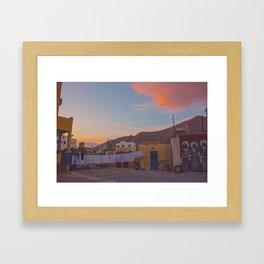 A Backyard in Santorini Framed Art Print