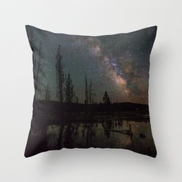 Milky Way Galaxy Above The Pond Throw Pillow