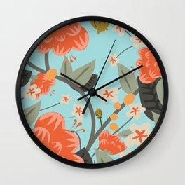 Vintage Floral Print Wall Clock