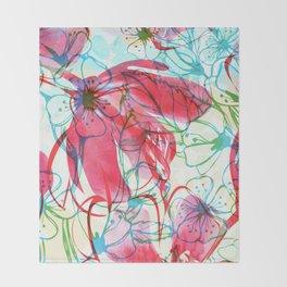 Sakura Japanese Painting Throw Blanket