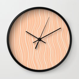 White Wave Lines on Light Salmon Background Wall Clock