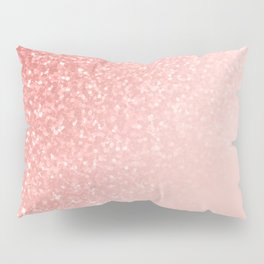 She Sparkles Deep Rose Gold Pastel Pink Luxe Geometric Pillow Sham