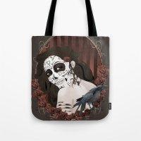 dia de los muertos Tote Bags featuring Dia de los Muertos by Kretly