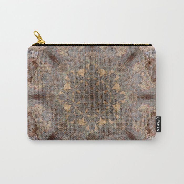 Copper Brown Terracotta Mandala and Tile Carry-All Pouch