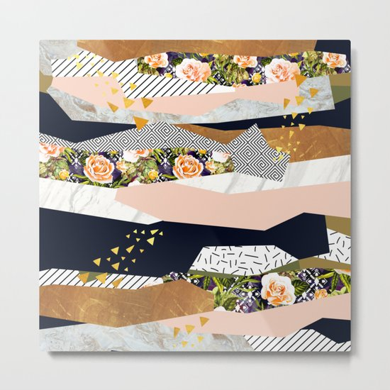 Collage of textured shapes and flowers Metal Print