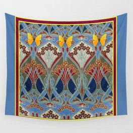 Grey-Burgundy Color & Yellow Art Nouveau Butterfly Design Wall Tapestry