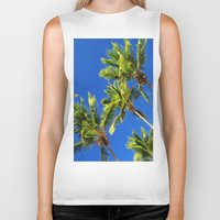 coconut wishes Biker Tanks featuring Coconut Peaks by Tom Lee