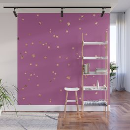 Gold Stars in Pink Morning Sky Pattern Wall Mural