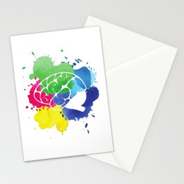 School Psychologist with Brain Stationery Cards
