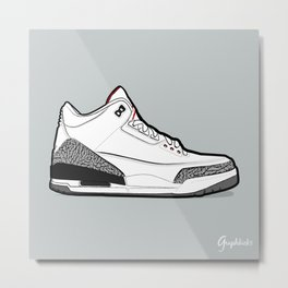 "Air Jordan III ""White Cement"" Metal Print"