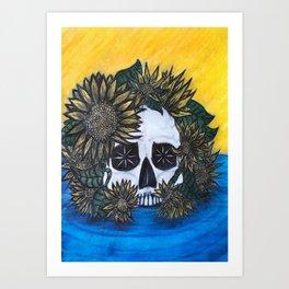 Skull and Sunflowers Art Print