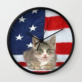 Patriotic Tabby Kitten Wall Clock