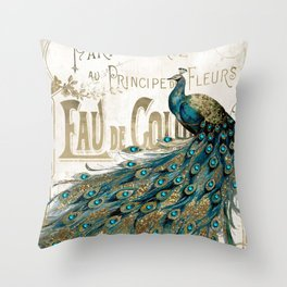 Peacock Jewels Throw Pillow