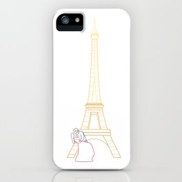 Couple sharing a moment by Eiffel Tower, France. iPhone Case
