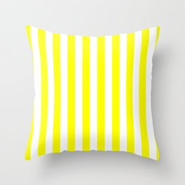 Vertical Stripes (Yellow & White Pattern) Throw Pillow