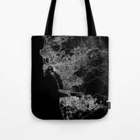 san diego Tote Bags featuring san diego map by Line Line Lines