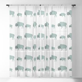 Bison And Baby (Moss) Sheer Curtain