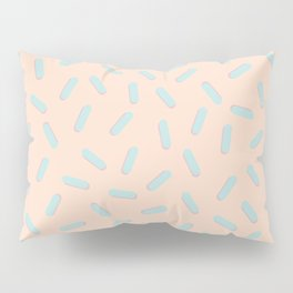 Memphis Bacteria Pattern Pastel Colors Peach Baby Blue Pillow Sham
