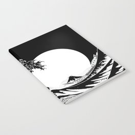 The Great Wave Black and White Inverse Notebook