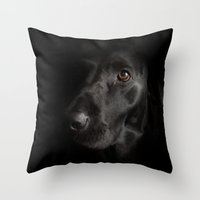 labrador Throw Pillows featuring Black Labrador   by Simon's Photography