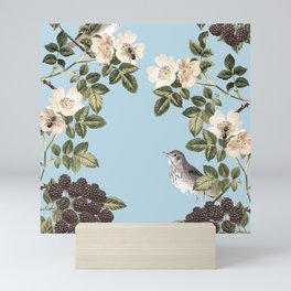 Birds and the Bees Blue Mini Art Print