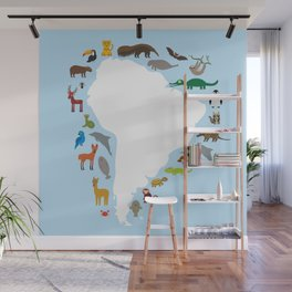 South America sloth anteater toucan lama armadillo manatee monkey dolphin Maned wolf raccoon jaguar Wall Mural
