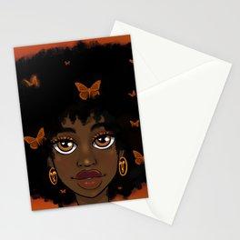 Butterfly Girl-Orange Stationery Cards