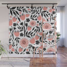 Floral Pattern Dark Gray and Light Coral Wall Mural