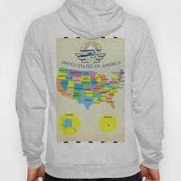 United States of America vintage style Map Hoody