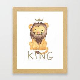 Cute Watercolour King Leo Framed Art Print