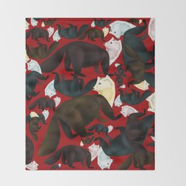 Marten tropical pattern Red Throw Blanket