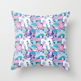 Shroomy Yeti 60's Floral in Blue + Lilac Pink Throw Pillow